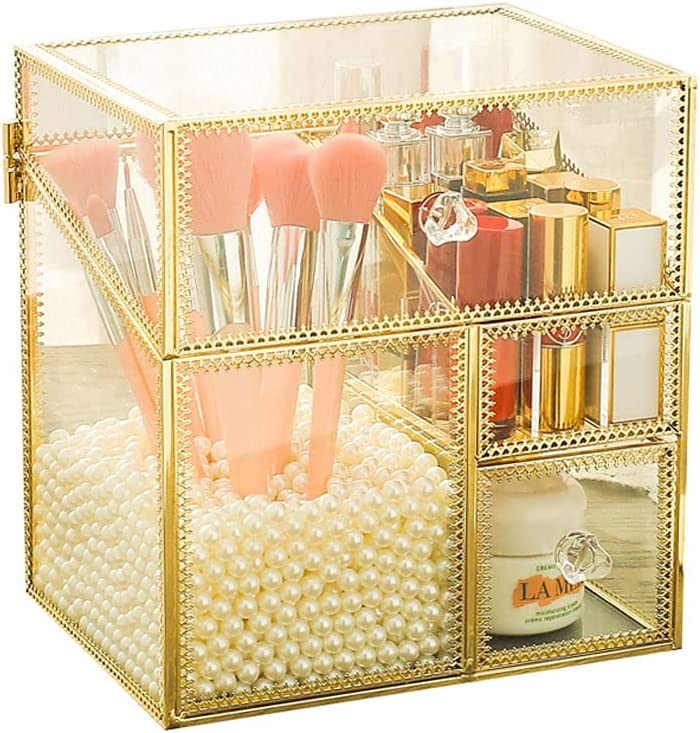 Topics on TV Retro Copper-Edged Glass Nippon regular agency Storage Box Lip Glaze Bucket Ma