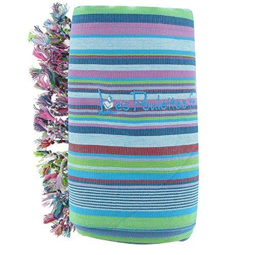 LES POULETTES Kikoy Strandtuch aus Baumwolle Streifen - Farbe Türkis