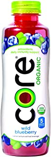 CORE Organic, Blueberry, 18 Fl Oz (Pack of 12), Fruit Infused Beverage, Vegan/Gluten-Free, Non-GMO, Refreshing Flavored Water with Antioxidants, Great For Immunity Support