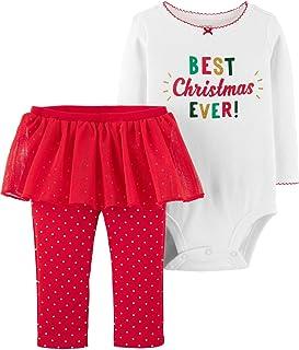 Carter's Baby Girls' 2-Piece Christmas Bodysuit & Tutu Pant Set (Red/Best Christmas, 18 Months)