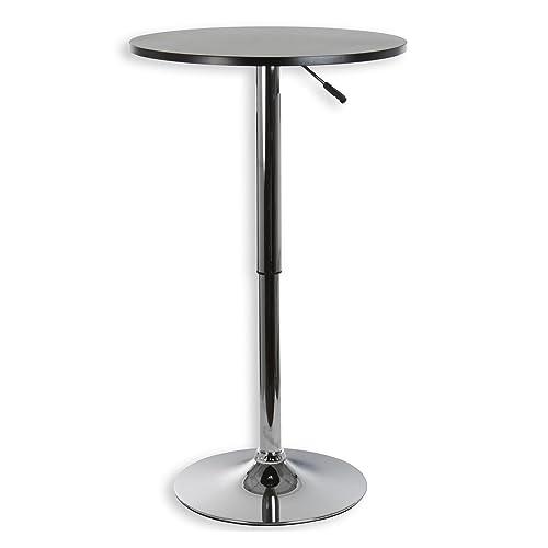 IDIMEX Table Haute de Bar Mange-Debout Vista Hauteur réglable MDF laqué Noir Mat