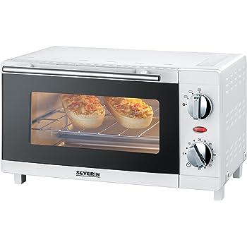 SEVERIN Mini-Four 9 L, Inclus : Grille et Lèche frites, Minuteur 60 min, 800 W, Blanc, TO 2054