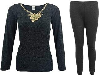 Zmart Mens Womens 2PCS Set Merino Wool Top Pants Thermal Leggings Long Johns Underwear