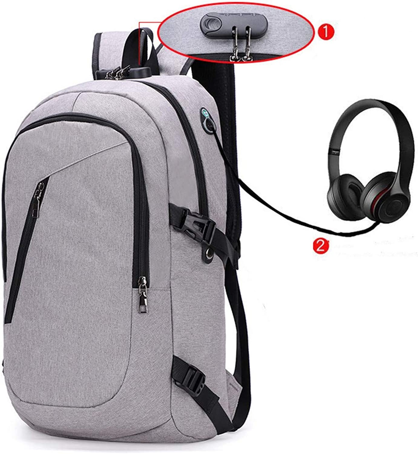 Large Capacity Laptop Backpack Backpack for Men Computer Backpack for Business Work Travel with Headphone Interface Fits Water Resistant