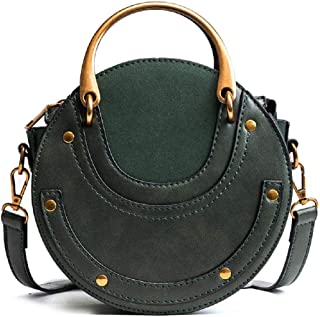 MASARA Women Round Shape Punk Bags Rivet Shoulder Crossbody Bag Handbag Little Cute Purse