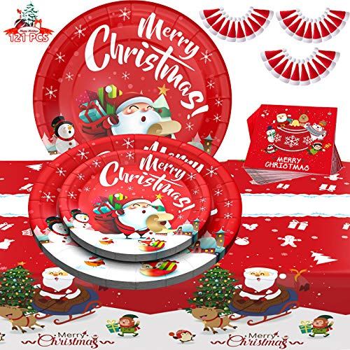Christmas Party Supplies, 121 PCS Disposable Party Dinnerware Serves 30 Guests, Christmas Paper Plates - Plates, Napkins, Tablecloth, Mini Christmas Hats for Christmas Themed Parties