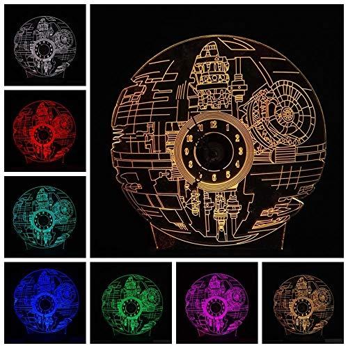 Licht Der Illusion 3D Film Fan 3D Rgb Led Todesstern Uhr Mit Uhren Und Nachtlichter 7 Farbwechsel Tischlampe Tischlampe Glanz Weihnachtsgeschenk Kinderspielzeug