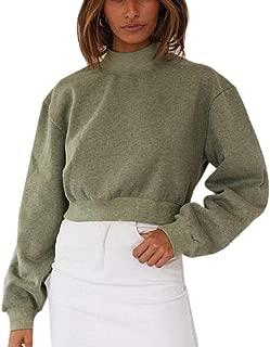 Women Causal High Neck Basic Long Sleeve Knit Pullover Lantern Sleeve Sweater