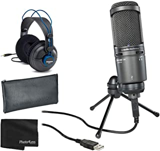 Audio-Technica AT2020USB+ Cardioid Condenser USB Microphone + Professional Studio Reference Headphones + Cleaning Cloth - ...