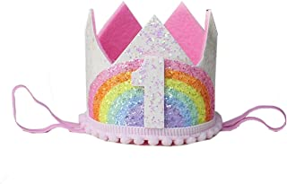 Kirei Sui Baby Red Pink Rainbow Gold 1/2 1st 2nd 3rd Birthday Crown Headband