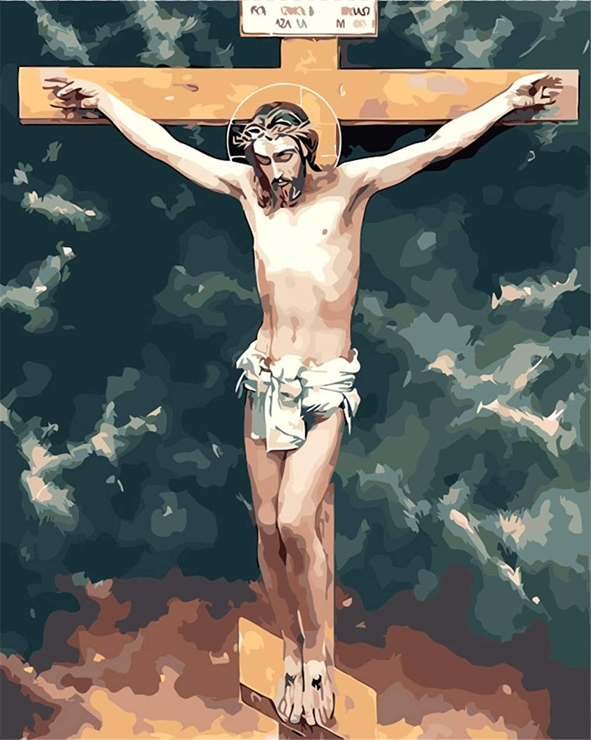 DIY Oil Paint by Number Kit for Adults Beginner 16x20 Inch - Jesus on Cross,Drawing with Brushes Living Room Decor Decorations Gifts (Framed)