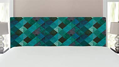 Lunarable Emerald Headboard, Abstract Retro Intertwined Lines Checkered Pattern Worn Looking Vintage Design, Upholstered Deco