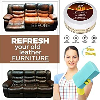 Wabaodan [Ship from USA] Cleaning Cream,Multifunctional Leather Refurbishing Cleaning Agent,Cleaner Care Detergent,Magic Wipe Cleaner,Repair Tool Cream with Sponge 260g
