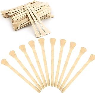 "UPlama 200 PCS 5""Wood Craft Sticks Wooden Fan Handles Ice Cream Sticks Craft Sticks Auction Paddle Sticks Natural Wood Pop..."