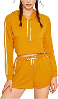 Women Stripe Tracksuit Set Shorts and Long Sleeve Crop Pullover Hoodie Sweatsuits Sets 2 Pieces Outfits for Fall