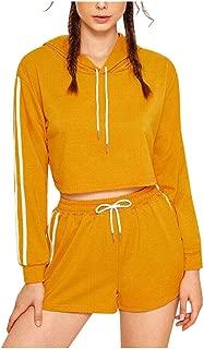 BXzhiri Women Ladies 2 Piece Outfits Pullover Hoodies Sweatshirt Tops+Short Sport Wear Casual Sets