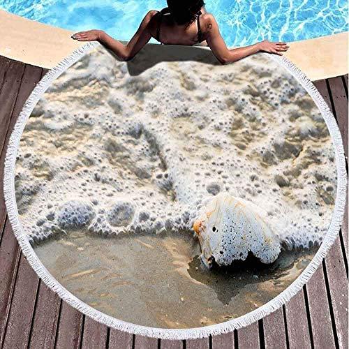 YURONG Toalla de Manta de Playa Redonda, Toallas de Playa para Mujeres, Toalla de Playa para bebé Concha de Concha Beach Waves Focus Toalla de Playa de Microfibra de 60 x 60 Pulgadas