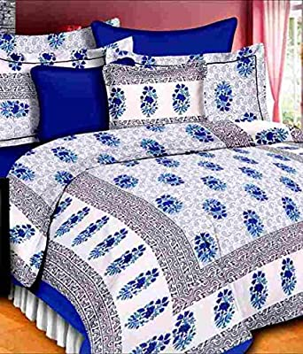 UniqChoice Floral Japuri Printed 120 TC 100% Cotton Double Bedsheet with 2 Pillow Cover,Blue(UCEBD375)