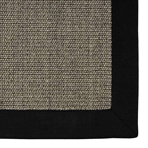 casa pura® Sisal Teppich aus Naturfasern | grau | mit Bordüre aus Baumwolle | pflegeleicht | Größe wählbar (70x130 cm)