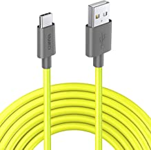 Short USB Type C Cable Neon Yellow 0.8ft(10 inch) VANKO USB C Charger Cable Fast Charging Cord for Samsung Galaxy S10 S9 S8 plus Note 9 8, Switch,Google Pixel 2 3 XL, Moto Z, LG V30 V20 G6 G5 and More