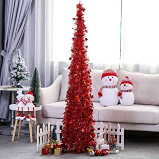 Yugust Artificial Christmas Tree Metal Stand, Red Tinsel Coastal Glittery Christmas Tree, 4Ft Collapsible Pop Up Tinsel Xmas Trees with Plump Sequin Holiday Decorations - Easy to Assemble