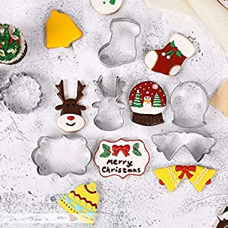Rockia Christmas Cookie Cutter Stainless Steel Cake Mold Christmas Elements Santa Face Tree Snowman Reindeer Socking Bell Shaped Metal Plaque Frame Pancake Mold Christmas Party Supplies 9 Pcs Set
