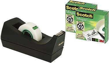 3M Scotch Magic - Dispensador de cinta adhesiva, portarrollos de sobremesa con 3 rollos de Scotch Magic cinta adhesiva transparente 19 mm x 33 m, base antideslizante, color negro