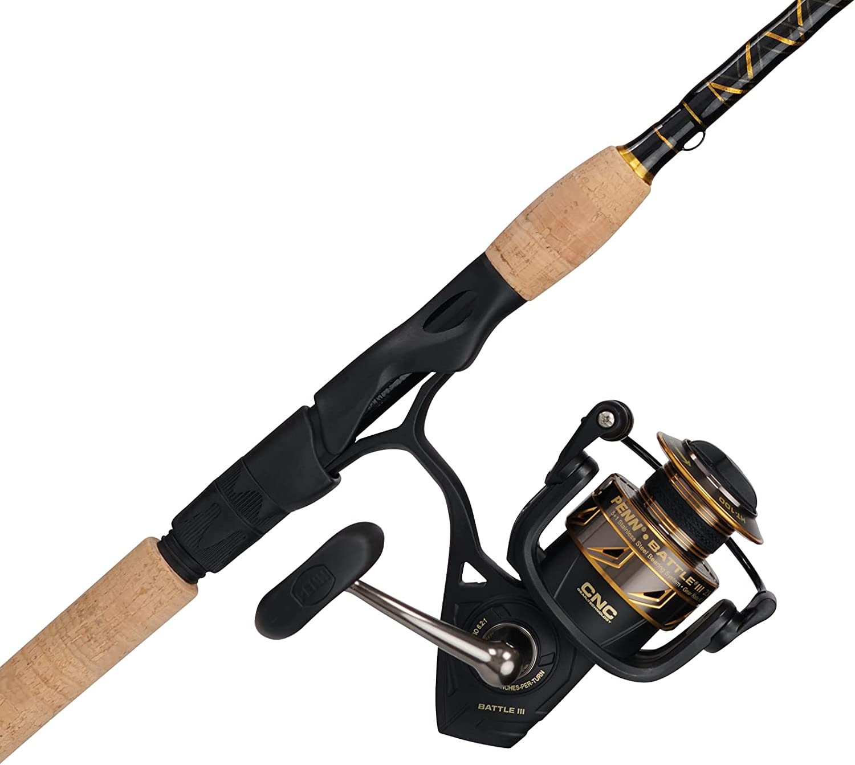 Penn Battle mart III Spinning Reel and Rod Gold Combo Mesa Mall Black Fishing
