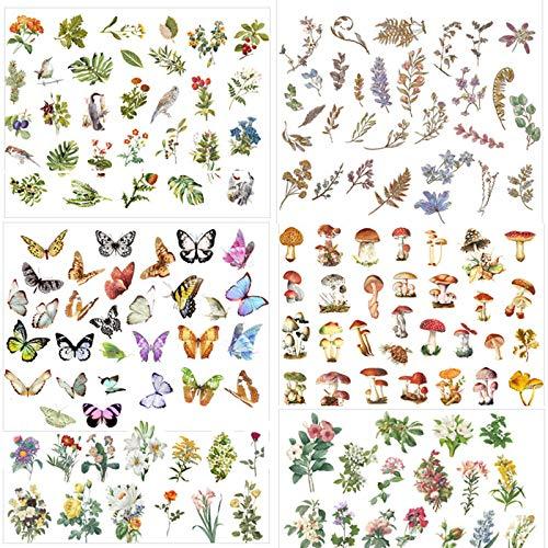 Deko Sticker Aufkleber Set 300 Stück, Vintage Muster Notizbuch Fotoalbum Sticker DIY Handbuch Tagebuch Scrapbooking Dekoration Sticker, Pflanzen, Schmetterlinge, Blumen, Figuren, Architektur (B)