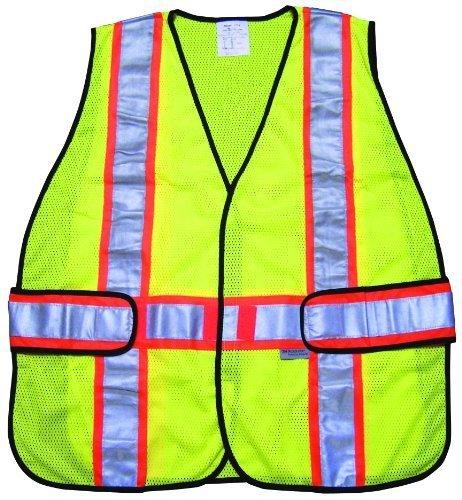 Mcr Safety WCCL2LA Class 2Polyester mesh Safety Vest with 3m Scotchlite 7,6cm arancione/argento riflettente Stripe e gancio regolabile, fluo lime by Mcr Safety
