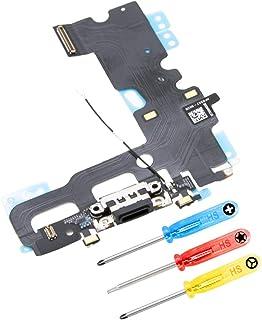 MMOBIEL Repuesto Conector Dock de Carga Compatible con iPhone 7 (Negro/Jet Black) con Cable Flex Inc 3X Destornilladores