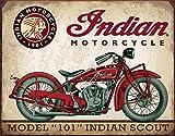 Desperate Enterprises Indian Scout Motorcycle Tin Sign, 16' W x 12.5' H