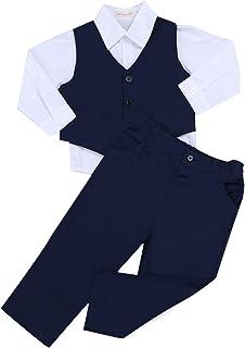 ranrann Baby Jungen Gentleman Anzug Weste+Shirt+Hose Festlich Kleidung Set Kleinkind Hochzeit Party Taufkleidung Smoking Outfits Set Babykleidung Gr.68-104