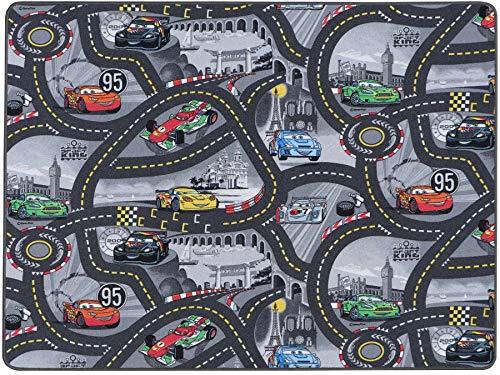 Spielteppich mit Straßen in Grau - Disney Cars, 140x200 cm, Pflegeleicht, Fußbodenheizung Geeignet, Spielmatte, Auto-Kinderteppich für Mädchen & Jungen