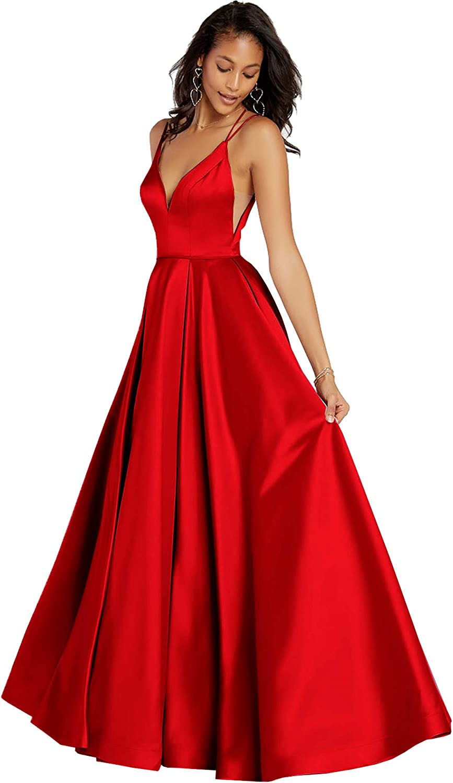 Beauty Bridal Women's Spaghetti Straps Prom Dresses for Women Satin Formal Evening Gown Z05