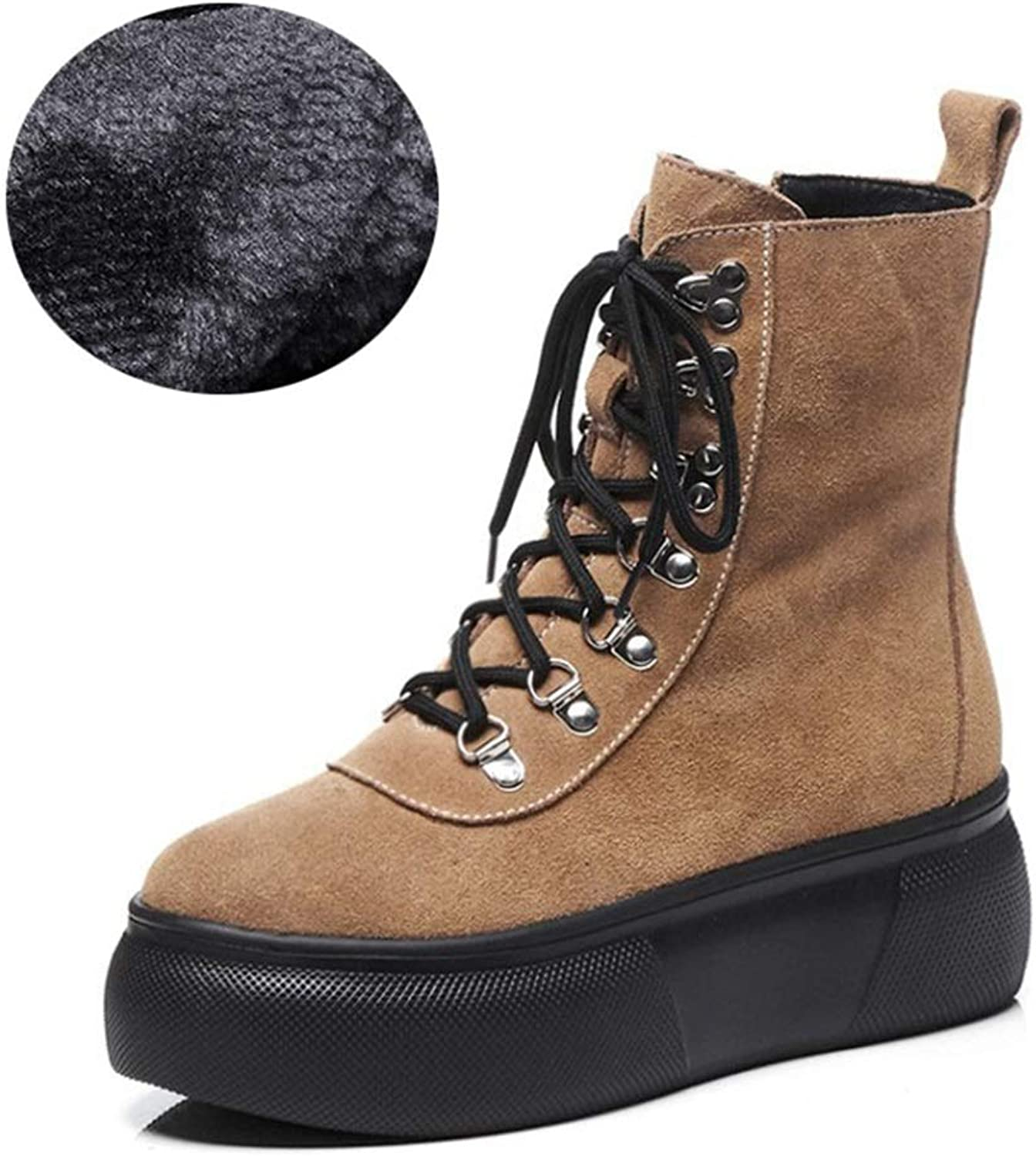Women's Boots Suede Winter New Lady's Ankle Boots England Platform shoes Round Head Lace Up Martin Boots Black Green Brown (color   B, Size   36)