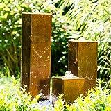 """Köhko Wasserspiel aus Cortenstahl mit LED-Beleuchtung """"Brasilien"""" 31001 Höhe 15-30-45 cm Gartenbrunnen"""