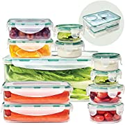 ACODINE 11 Food Storage Containers With Airtight Snap Lock Lids - Clear, BPA Free, Stacking, Reusable Leak Proof Lunchboxes - Freezer, Dishwasher, Microwave Safe - Bonus Draining Rack, 23 Piece Set