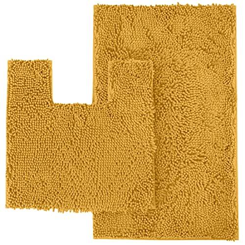 LuxUrux Juego de 2 alfombrillas de baño de felpilla de lujo de felpilla de 2 piezas, suave alfombra de baño antideslizante + alfombrilla de inodoro de microfibra, superabsorbente...
