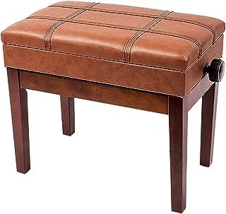 Gprice Stołek fortepianowy z litego drewna, ławka fortepianowa ze skóry PU, odpowiednia dla dzieci dorosłych, 55 x 34 x 4...
