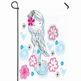 Ahawoso Outdoor Garden Flags 12x18 Inch Dress Character Mermaid Girl Flowers Girlie Marine Princess Child Costume Tale Vertical Double Sided Home Decorative House Yard Sign