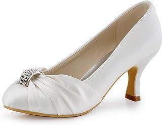 b21fcb61fdd ElegantPark Women Pumps Mid Heel Closed Toe Brooch Ruched Satin Evening  Prom Wedding Shoes