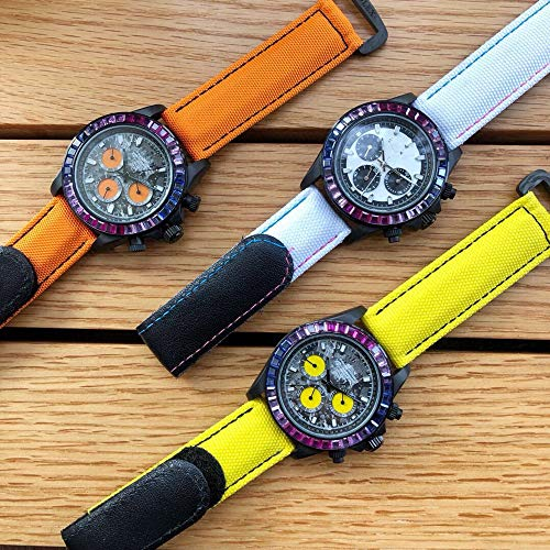 JFfactory estrenar Hombres automático mecánico ETA4130 Arco Iris Diamante Bisel Fibra de Carbono Zafiro Lona Cuero Luminoso Reloj Amarillo