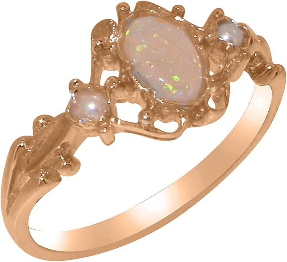 LetsBuyGold 14k Rose Gold Natural Opal & Cultured Pearl Womens Trilogy Ring - Sizes 4 to 12 Available