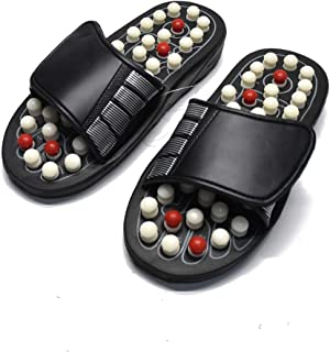 Romonacr White Point Massage Slippers Foot Massager Shoes Shiatsu Relax Sandals Black (S) (Women7-8/ Men 5.5-6.5/38-39)