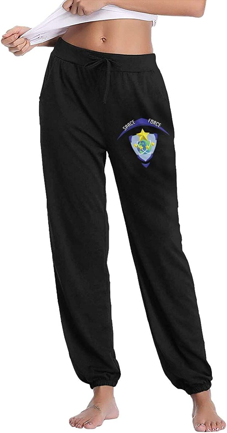 Pkaixin Space Force Women's Cotton Long Pants with Pockets Workout Casual Sweatpants Drawstring Waist Jogger
