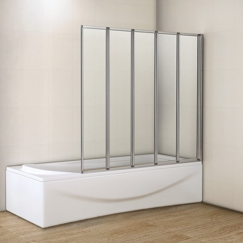 Perfect 1200mm Folding Shower Screen Bath Screen Toughened Glass Panel 5 Fold