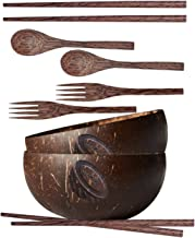 Coconut Bowls Set – Coconut Bowls with Spoons, Forks and Chopsticks – Handmade Wooden Bowl Set – Eco-Friendly and Organic ...