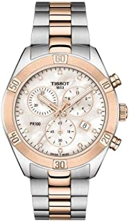 Tissot PR 100 Mother of Pearl Diamond Dial Ladies Two Tone Chronograph WatchT101.917.22.116.00