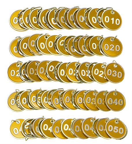 ONLYKXY 1-50 Number Colorful Tough Aluminum Metal Numbered Marking Identification Hang Tags Luggage Labels ID Tag with Split Rings for Organized Coded Key Box Cabinet System Identifier (Yellow)